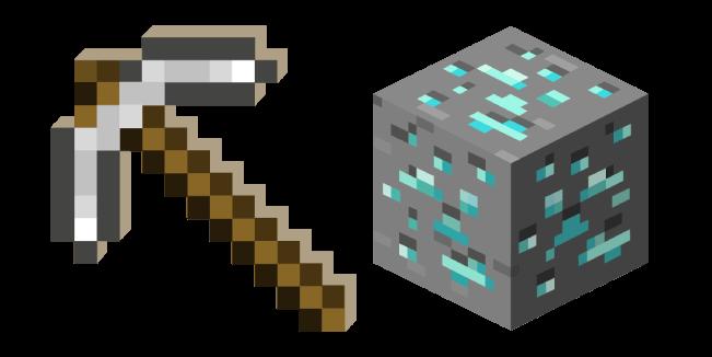 Minecraft Iron Pickaxe and Diamond Ore