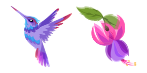 Hummingbird and Fuchsia Flower Curseur