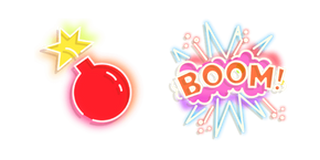 Red Bomb and Boom Neon Cursor
