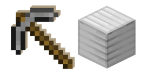 Minecraft Stone Pickaxe and Block of Iron Cursor