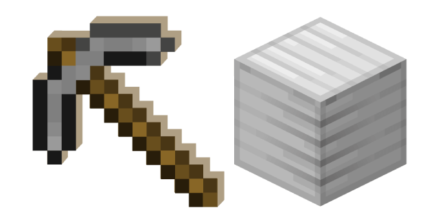 Minecraft Stone Pickaxe and Block of Iron