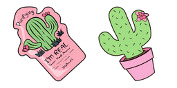VSCO Girl Cactus Mask and Plant Curseur
