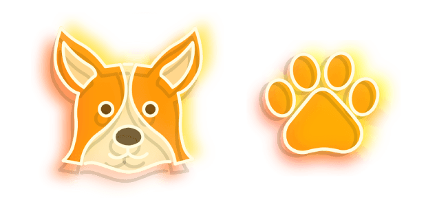 Orange Corgi Dog and Paw Neon