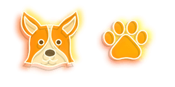 Orange Corgi Dog and Paw Neon Cursor