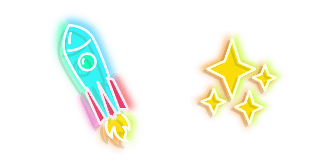 Blue Rocket and Yellow Stars Neon