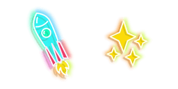 Blue Rocket and Yellow Stars Neon Curseur