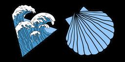 VSCO Girl Ocean Waves and Shell Curseur