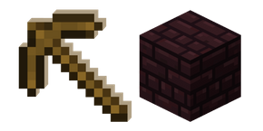Minecraft Wooden Pickaxe and Nether Bricks Cursor