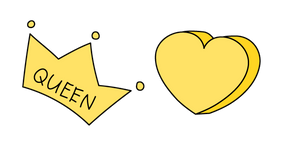 VSCO Girl Queen Crown and Heart Cursor