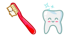 Cute Toothbrush and Tooth Curseur