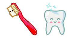 Cute Toothbrush and Tooth Cursor