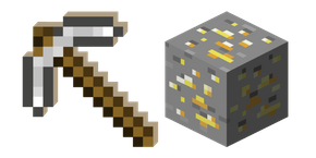 Minecraft Iron Pickaxe and Gold Ore Cursor