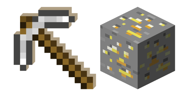 Minecraft Iron Pickaxe and Gold Ore
