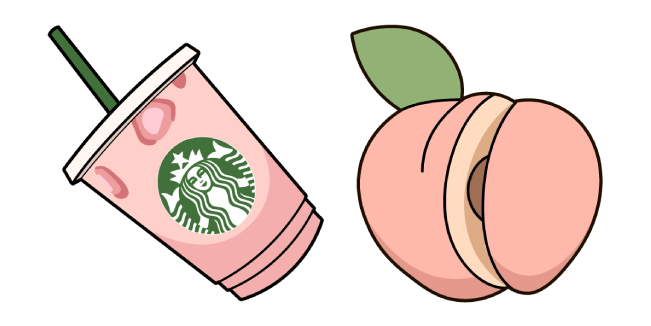 VSCO Girl Starbucks Cup and Peach