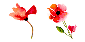 Hand Painted Poppy Flower Cursor