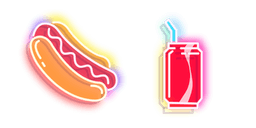 Red Hot Dog and Cola Neon Cursor