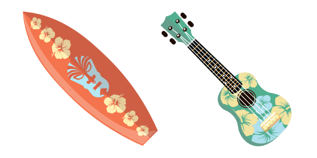 VSCO Girl Hawaii Surfboard and Ukulele