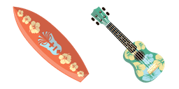 VSCO Girl Hawaii Surfboard and Ukulele Cursor