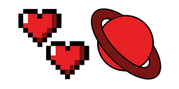 VSCO Girl Pixel Hearts and Red Planet Cursor