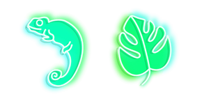 Green Chameleon and Monstera Neon Cursor
