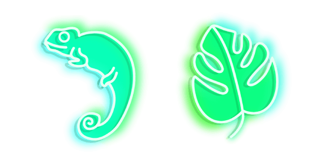 Green Chameleon and Monstera Neon