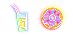 Colorful Drink and Donut Neon Cursor