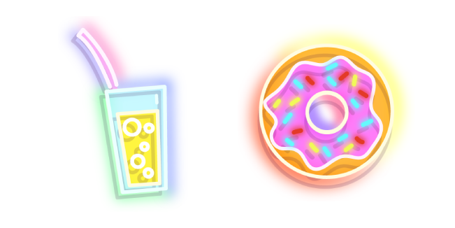 Colorful Drink and Donut Neon