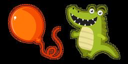 Cute Crocodile with a Balloon Cursor