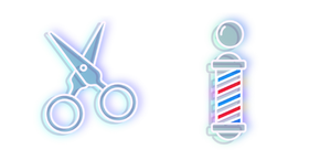 Blue Scissors and Barber's Pole Neon Cursor