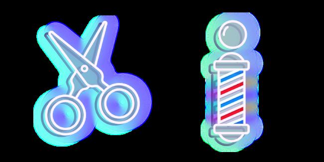 Blue Scissors and Barber's Pole Neon