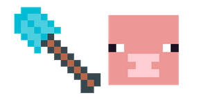 Minecraft Diamond Shovel & Pig Curseur