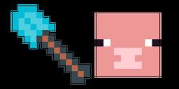 Minecraft Diamond Shovel & Pig Curseur