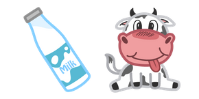 Cute Cow and Milk