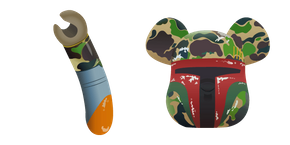 Bape and Medicom Boba Fett