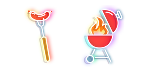Red Hot Sausage and Grill Neon Cursor