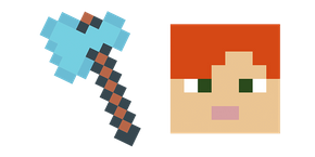 Minecraft Diamond Axe & Alex Curseur