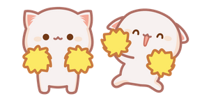 Cute Mochi Mochi Peach Cat with Pompoms Cursor