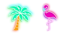 Palm Tree and Flamingo Neon Cursor