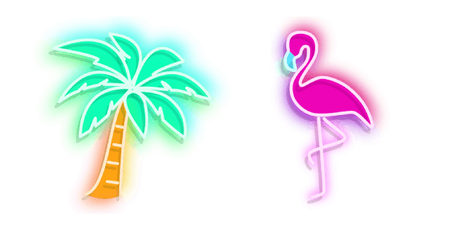 Palm Tree and Flamingo Neon