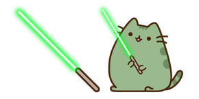 Pusheen Yoda and Lightsaber
