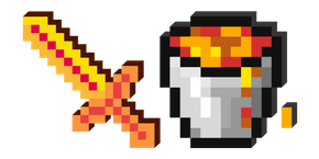 Minecraft Lava Bucket and Sword Cursor