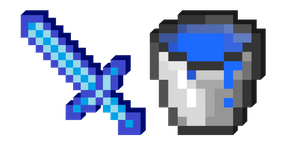 Minecraft Water Bucket and Sword Cursor