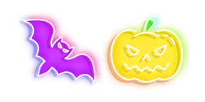 Neon Bat and Jack-o'-Lantern Cursor