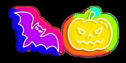 Neon Bat and Jack-o'-Lantern Cursor