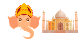 India Ganesh and Taj Mahal Curseur