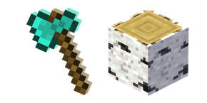 Minecraft Diamond Axe and Birch Log