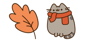 Курсор Autumn Pusheen and Leaf