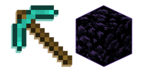 Minecraft Obsidian and Diamond Pickaxe Curseur