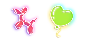 Neon Balloon Dog and Heart Cursor