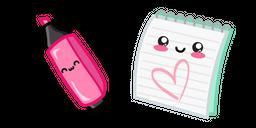 Cute Highlighter Pen and Notebook Cursor